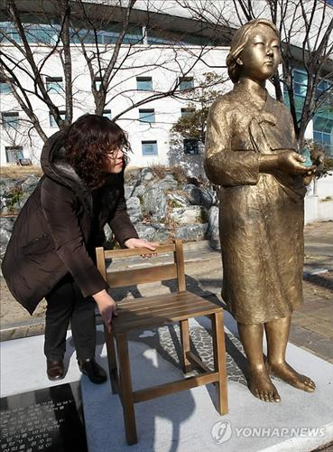In Geo-je island, S.Korea, the Girl statue for peace