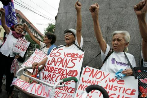 Filipino comfort woman protest in front of Japanese Embassy in Manila