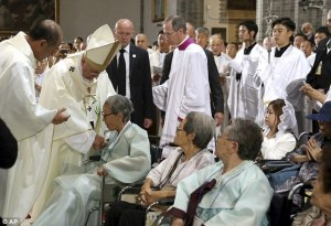 Pope Francis led a mass with the Butterfly badge on him.