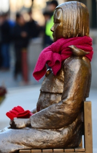Citizens wrapped the statue with a scarf and left mittens in winter time